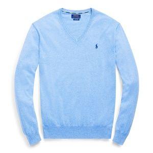 POLO RALPH LAUREN Slim Fit Cotton V-Neck Sweater